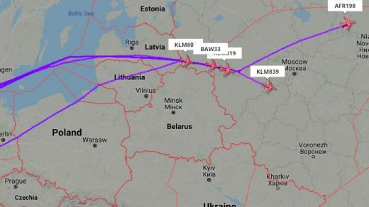 European airlines are now avoiding Belarussian airspace.