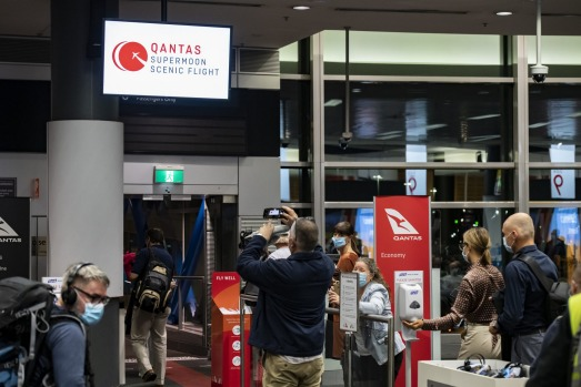 On board the special Qantas flight for viewing the supermoon and lunar eclipse.