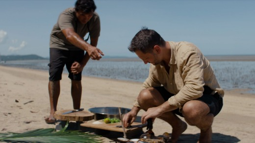 Lennox Hastie cooks up his catch on the beach in an episode of Chef's Table: BBQ.
