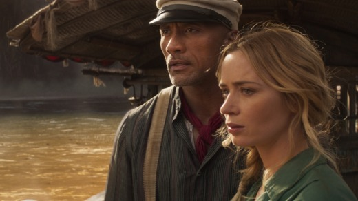 Emily Blunt and Dwayne Johnson in a scene from the upcoming Jungle Cruise movie.