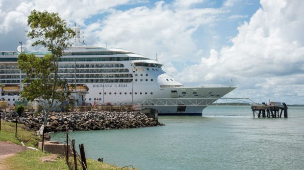Radiance of the Seas in Darwin in 2018. The Northern Territory has decreed that no cruise ship with more than 150 ...