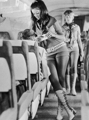 """Circa 1972:  Stewardesses working for Southwest Airlines in Texas """"must be able to wear hot pants and kinky leather ..."""
