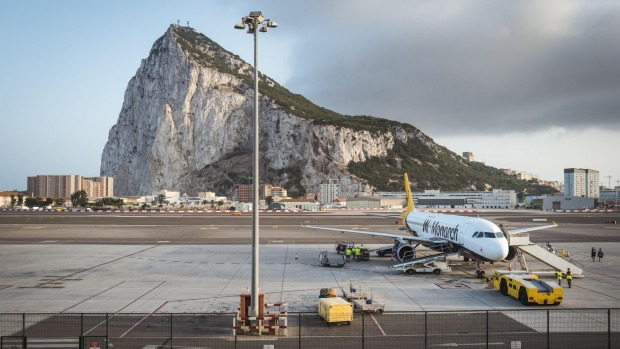 Gibraltar International Airport with Gibraltar Rock in the background.