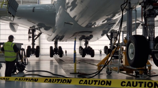 A Qantas A380 undergoes a gear swing procedure in Los Angeles after being taken out of storage.