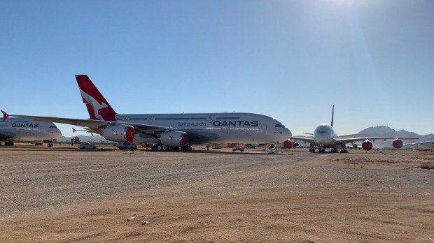 Qantas' fleet of Airbus A380 superjumbos are currently in storage at Victorville, in California's Mojave Desert.
