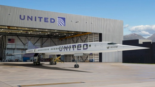 An artist's rendition of United Airlines' Boom Supersonic Overture jet.