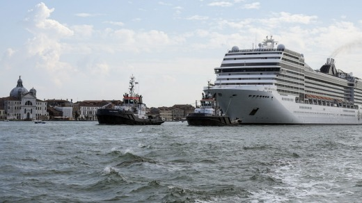 The MSC Orchestra cruise ship in Venice last month. The 92,000-tonne, 16-deck ship was the first to sail into the city ...
