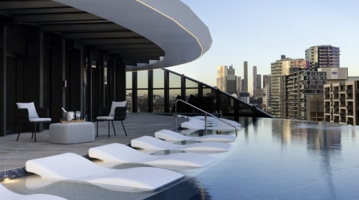 Melbourne Marriott Hotel Docklands' 'Insta-worthy' pool. The hotel opens at the end of the month.