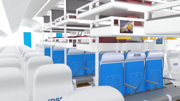 """Another entry, ADSE's """"Economy Sky-Dream"""" cabin design, took another crack at the holy grail of cattle-class travel: ..."""