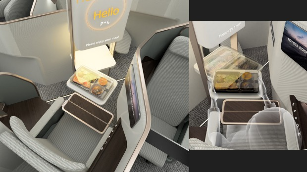 Toyota Boshoku reimagined the economy class cabin by mixing three classes together - economy window seats combined with ...