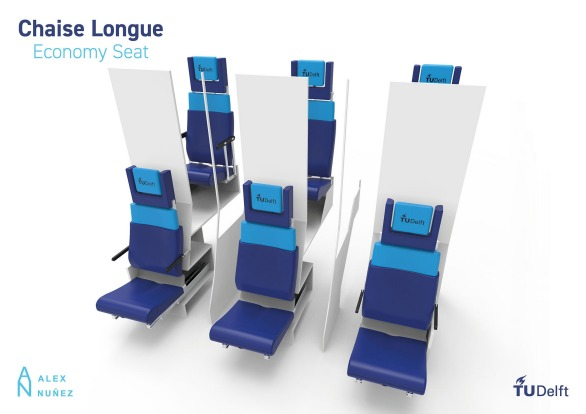 """""""Through the use of the vertical space, the seat design provides passengers with bigger recline angles, more leg room ..."""