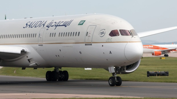 A Saudia Boeing 787-9 Dreamliner. Saudia most flies domestic and point-to-point flights to and from Saudi Arabia. The ...