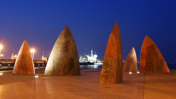 Sculptures on the Geelong waterfront.