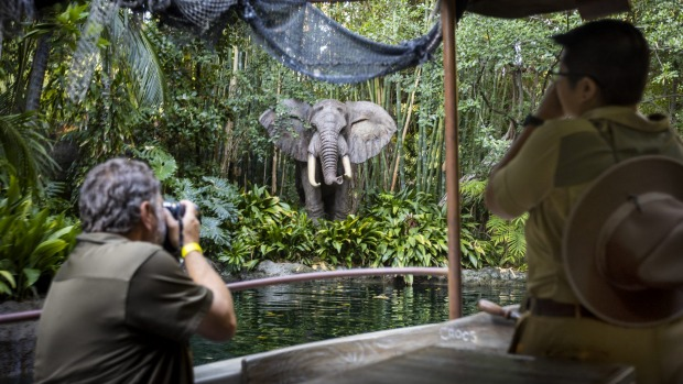 On board the newly reopened Jungle Cruise at Disneyland after racially offensive depictions of 'natives' were removed.
