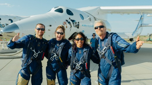 """Branson made mention of the bike during the post-flight celebration, telling a crowd of supporters, """"It's so awesome to ..."""