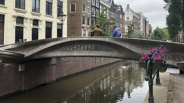 The new bridge is in the heart of Amsterdam's red light district.