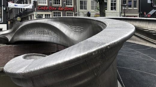 The distinctive flowing lines of the 12-metre bridge were created using a 3D printing technique called wire and arc ...
