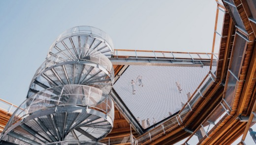An adventure net suspended partially across the centre of the Spiral Tower provides daring guests with another viewpoint.