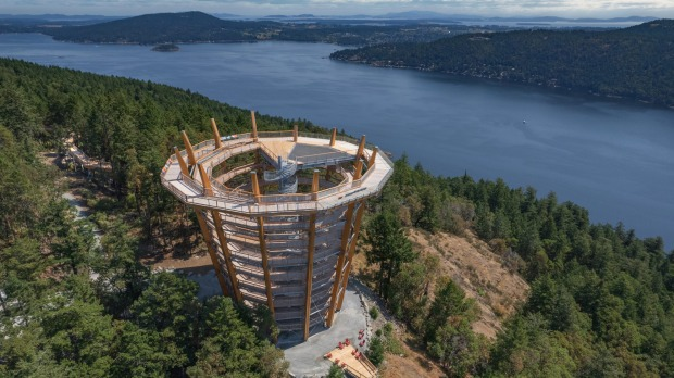 Malahat SkyWalk leads to a 10-storey spiral tower lookout.