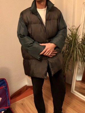 Bruno Harding wearing the coat, which weighed 6.8kg.