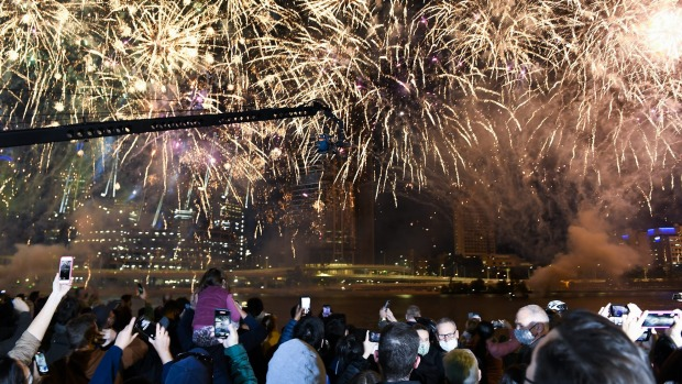 Fireworks in Brisbane light up the sky after the city was announced as the host for the 2032 Olympics.