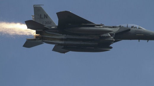Thompson spotted this shower of sparks coming from the rear of the F-15E Strike Eagle.