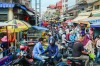 Phnom Penh, Cambodia- September 4, 2018: Very busy and crowded local market street on the outskirts of Phnom Penh, ...