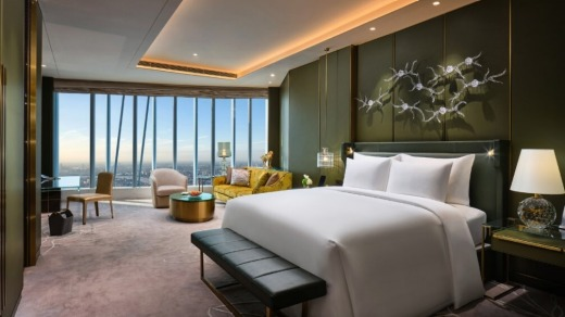 The tower has 165 rooms and 34 suites, all with butler service, including the New Chinese staterooms (pictured).