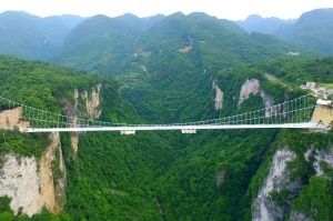 ZHANGJIAJIE, CHINA - MAY 17: (CHINA OUT) (Image taken with Unmanned Aerial Vehicle) Aerial view of a glass-bottomed ...
