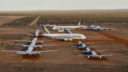 Singapore Airlines has been storing six of its Airbus A380s in the central Australian desert due to the downturn in ...