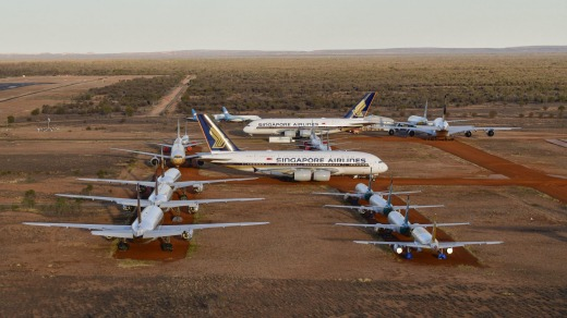 Singapore Airlines has stored some of its planes, including several Airbus A380s, in the desert near Alice Springs ...