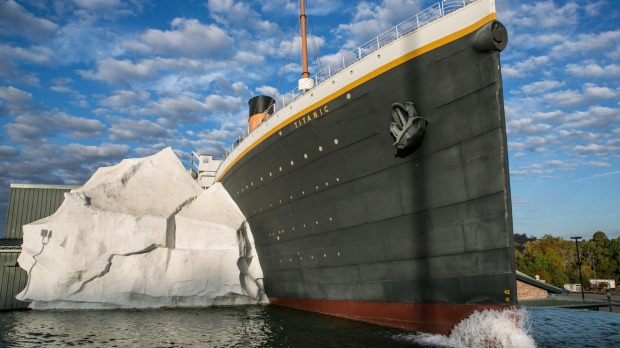 A half-scale replica of the Titanic hitting an iceberg is a main feature of the Titanic Museum.