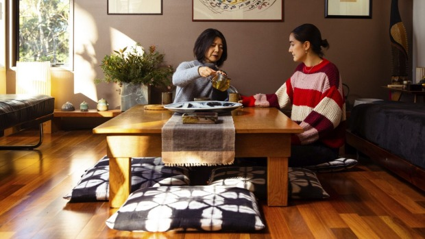 Mika Nishimura and daughter Aya in their Japanese-style living room in Turramurra, Sydney.