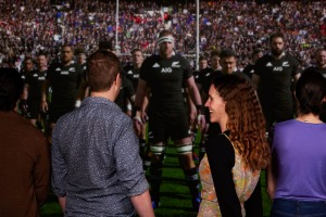 Facing the haka at theAll Blacks Experience in Auckland, NZ.