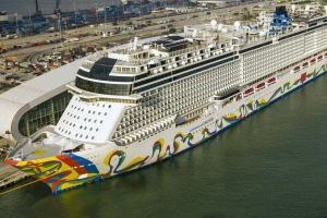 Norwegian Encore and other cruise ships docked at the Port of Miami in March last year.