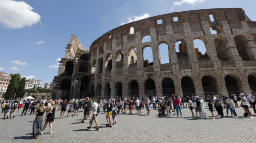 Tourists queue to enter the Colosseum in Rome last week. They need to provide proof of vaccination or a negative test ...