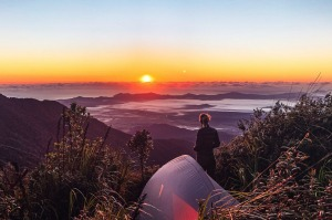 Sunrise from the summit of Queensland's highest mountain -Mount Bartle.