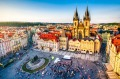 aerial view of old town square in Prague at sunset. Czech Republic David Whitley story on execution sites for ...