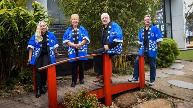 Frankston-Susono Friendship Association committee members Therese Sakamoto (L), Bev Hannan, her husband Vic Webster and ...