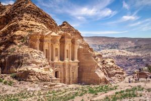 Giant temple of Monastery in sandstone at the ancient Bedouin city of Petra, Jordan.