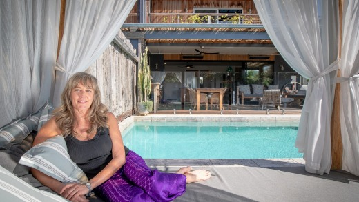 Bronwyn Brown, owner of the luxurious three-bedroom, four-bathroom Dragon Tree House at Lennox Head.