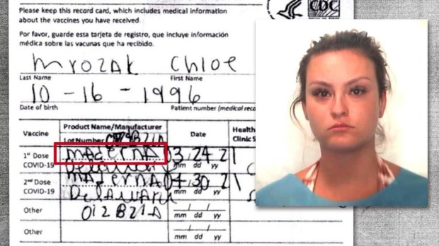 The alleged fake COVID-19 vaccination card that misspelled Moderna as 'Maderna'.