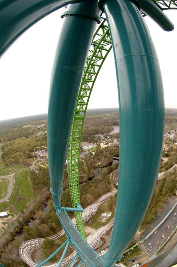 JACKSON, NJ - MAY 8: The world's tallest and fastest roller coaster, Kingda Ka, still awaits its first paying customers, May 8, 2005 at Six Flags Great Adventure in Jackson, New Jersey.  A glitch in one of the test runs has kept it out of service at the park's busiest time of the year.  Riders will be rocketed forward from 0 to 128 miles per hour in 3.5 seconds and then sent flying upward, at a 90 degree angle, to a height of 456 feet (about 45 stories).  They are then dropped straight down 418 feet while experiencing a three-quarter spiral, whoshed over a 129-foot hill, and will glide to a stop, all in just 50.6 seconds.  (Photo by Joe McNally/Getty Images) Getty image for Traveller. Single use only.