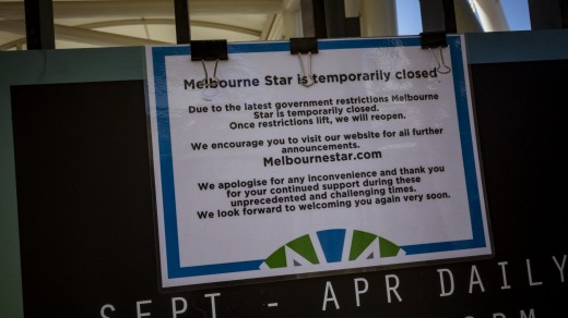 A sign at the Melbourne Star Observation Wheel on Monday.