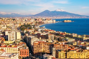 Panoramic aerial view of Naples with the unusually snowy Vesuvius volcano. Campania, southern ...