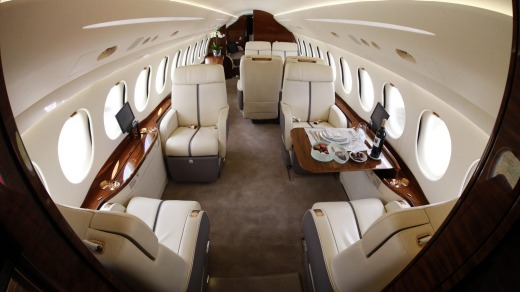 The interior of a Falcon 7X private jet seen at the Farnborough International Air Show. Passengers on board the RAAF get ...