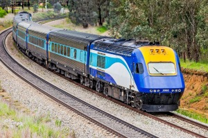 The XPT train from Sydney to Melbourne.