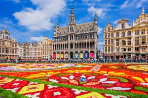 Every August, a carpet of flowers is installed in Grand Place, Brussels, Belgium.