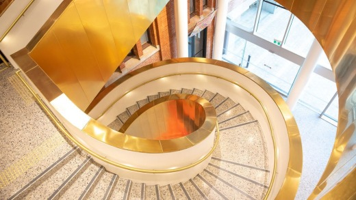 The stunning spiral staircase inside the WA Museum Boola Bardip Perth.