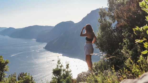 Holly O'Sullivan from Sydney's Northern Beaches in Santorini, Greece, before COVID-19 curbed international travel.